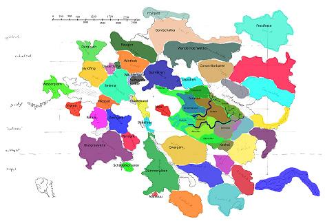 Improvisierte Regionalkarte für die Autoren