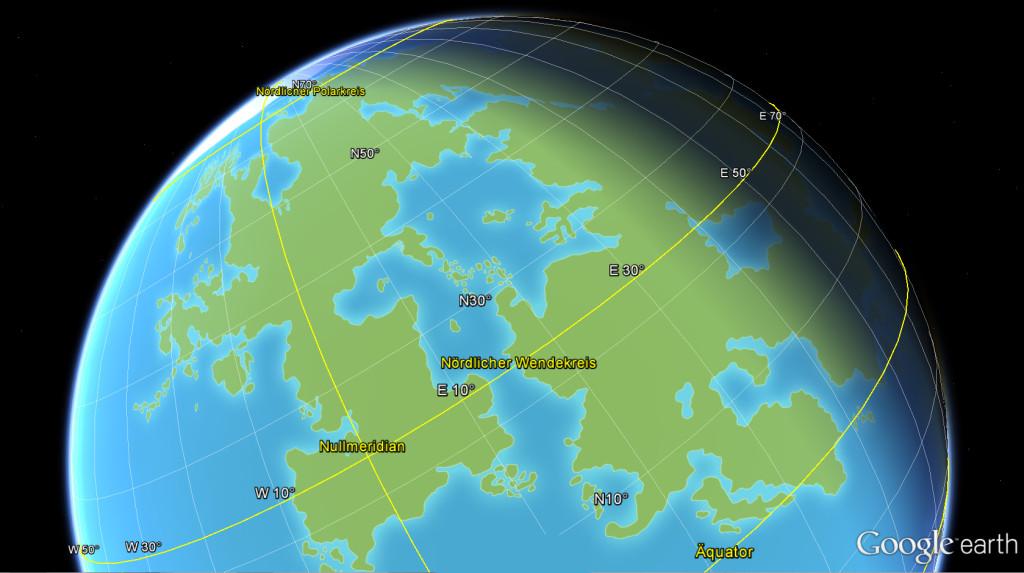 Lorakis auf dem Globus