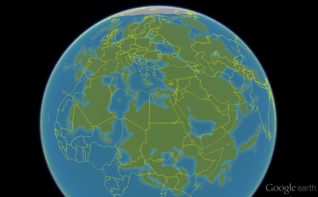 Lorakis und die Staaten der Erde zum Größenvergleich